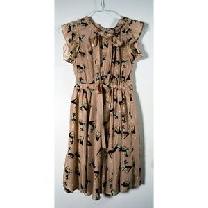 Girly deer print midi dress